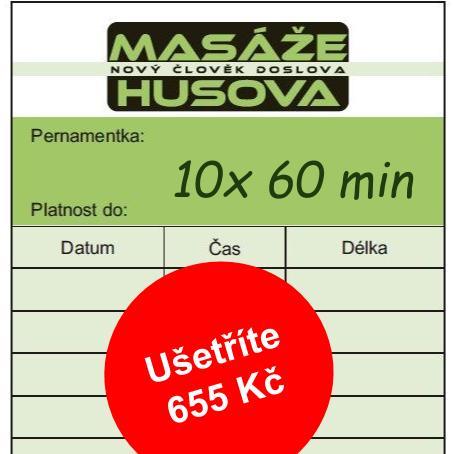 Permanentka 10 x60 minut - Masáže Husova