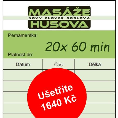 Permanentka 20x 60 minut - Masáže Husova