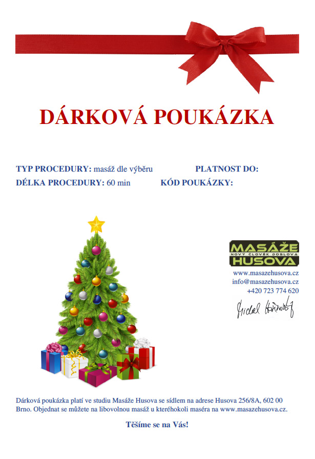 Vánoční poukaz - Masáže Husova