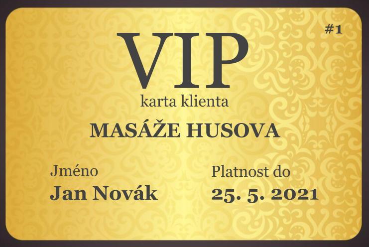 VIP karta klienta Masáže Husova